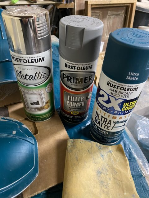 Rustoleum silver metallic and ultra matte deep teal