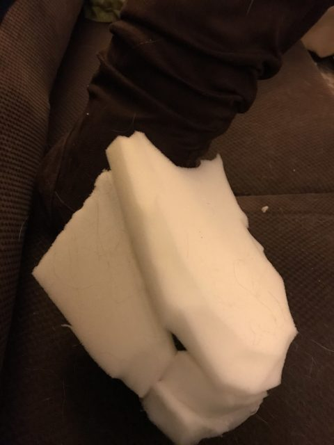 Boot with foam attached
