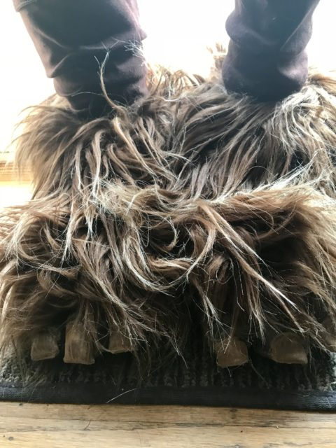 Ewok boots with fur and toes attached