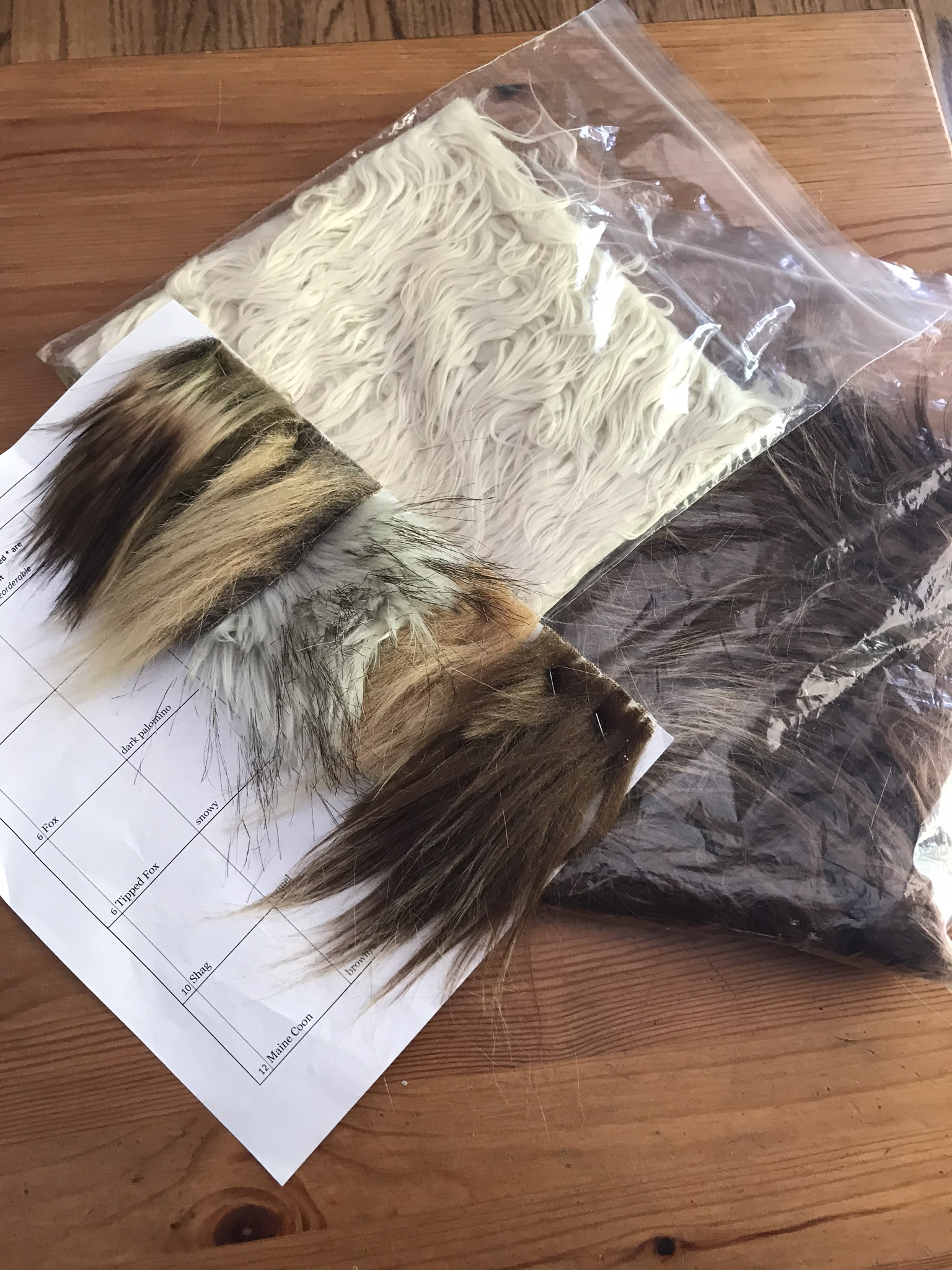 Faux fur swatches