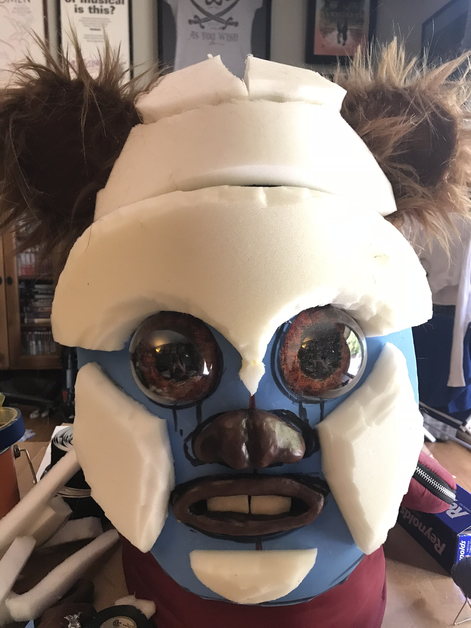 Ewok head with foam attached for structure
