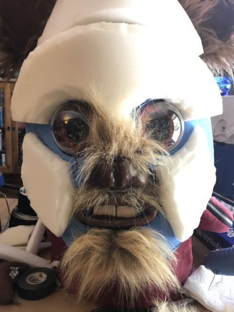 Ewok Mask with foam structure and beginnings of fur placement