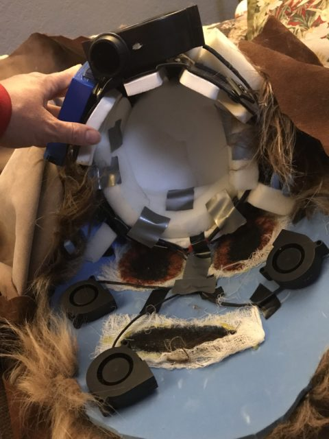 Ewok Head inside view with additional padding